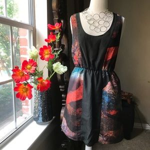 Slip dress with cinched waist